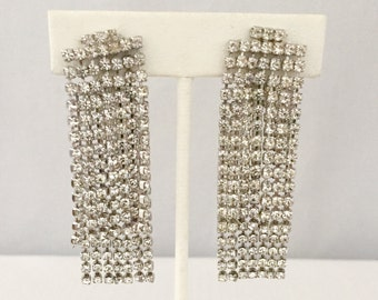 Vintage KJL Double Layer Cascading Rhinestone Clip Earrings - Bride, Wedding, Mother of the Bride, Bridesmaids