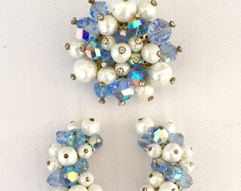 Vintage Laguna Brooch and Clip Earrings Demi Parure Blue Beads & White Faux Pearls -Bride,Wedding,Mother of the Bride,Bridesmaids