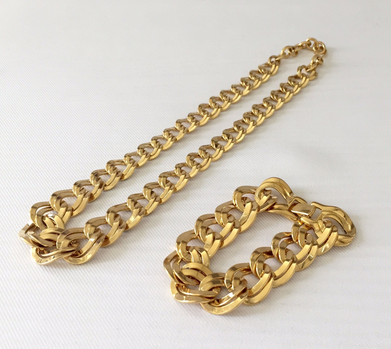 vintage monet necklace bracelet set gold tone flat chain