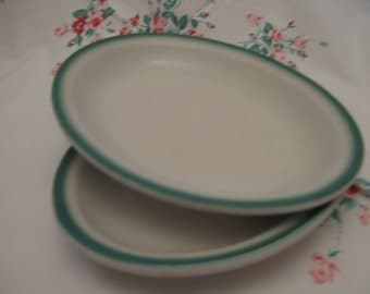 Pair of Vintage Buffalo China Oval Platters With Green Stripe on Edge; Restaurant Ware; Diner China; RR Ware; Farmhouse; Cottage Chic