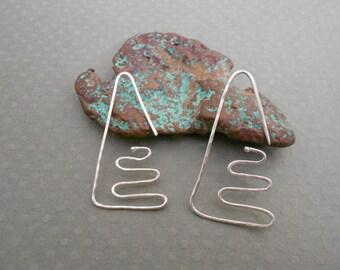 Sterling Silver Hammered Triangle Shape Hoop Earrings