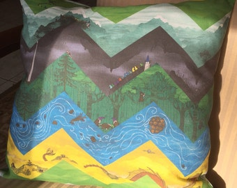 "Hobbit pillow, ""There and Back Again..."" 14 in by 14 inches"