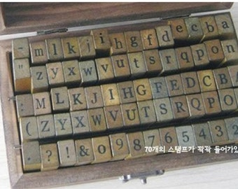 70pcs Alphabet & Number Wooden Rubber Diary Stamp Boxed Set - Printing Style