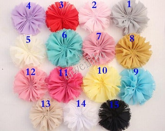 Shabby Flowers - Chiffon Frayed Flower  - Fabric Flower - You Choose Colors H100040