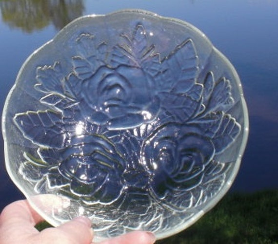 Clear Frosted Pressed Glass Dish Plate Small Serving Bowl