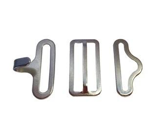 5 Nickel Bow tie Hardware sets (Slide, Hook & Eye)