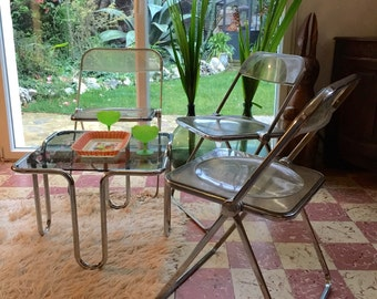 Signed chairs design castelli years 70 plexiglass and chrome