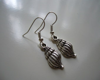 Shell Earrings, Antique Silver Shell Earrings, Metal Earrings Nickel Free