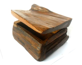 "Natural Teak Wood Rustic Driftwood Box Reclaimed Handmade wooden box Home Art Decor / Zen Art / Gift 5""X4""X2.75"""