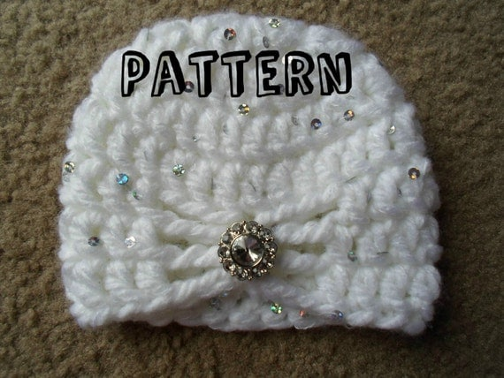 Crochet PDF Pattern. Newborn Chunky Butterfly Turban Hat