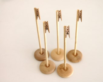 "5 Natural Wood Clothespin Table Number Holders  card stand name card holder Party Wedding ""Same Day Shipping"""