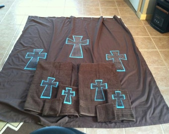 Bathroom Set, Shower Curtain, Bath Towels, Hand Towels, Wash Cloths, Country, Crosses, Towels