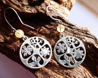 Air Element Seasons Equinox Earrings - Four Elements Earrings - Citrine Equinox Quarters Earrings - Hypoallergenic Titanium Ear Wires