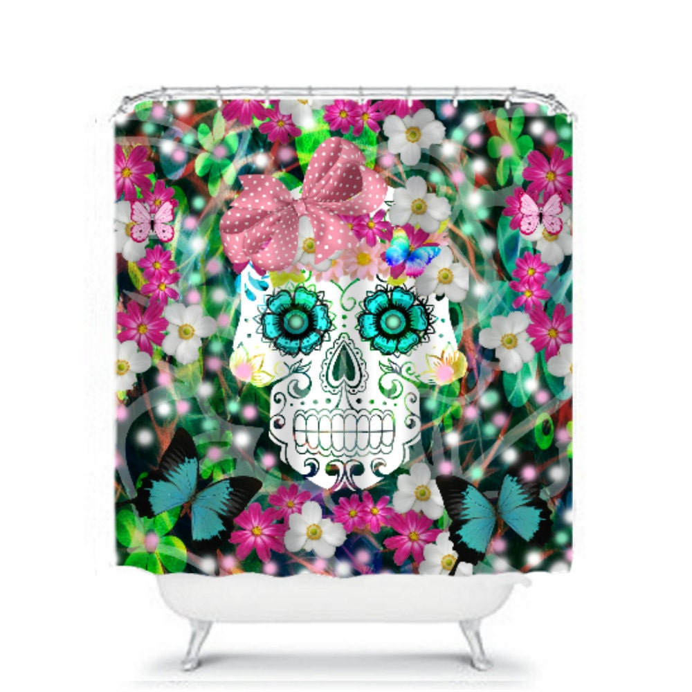 shower curtain sugar skull tropical floral by folkandfunky. Black Bedroom Furniture Sets. Home Design Ideas