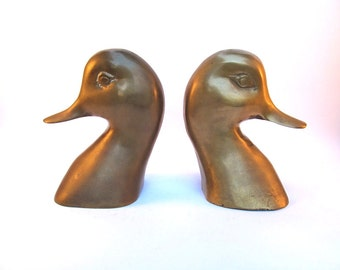 1950's Brass Duck Bookends