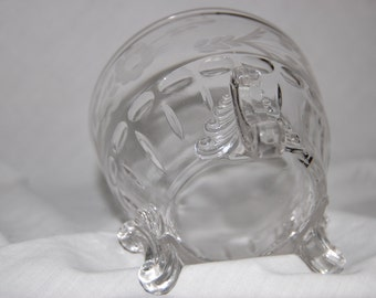 Elegant Crystal Wheel Cut Decorated and Three Footed Candy or Nut Dish