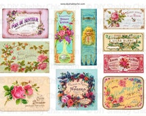 Bright Furniture water slide decals shabby chic french image transfer vintage perfume soap style labels arts crafts scrapbooking card making