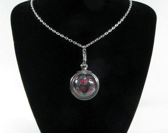 Dark Grey/Black D20 Dice Pendant Necklace
