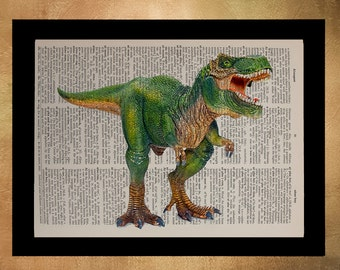 Tyrannosaurus Rex Dictionary Art Print Dinosaur Animal T Rex Wall Art Upcycled Book Boys Room da718