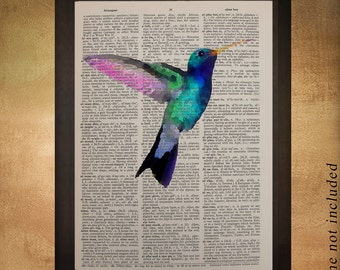 Hummingbird Dictionary Art Print Bird Wall Art Fine Art Print Home Decor Upcycled Book Print Gift Ideas da757