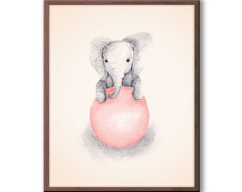 Baby Girl Nursery Decor, Peach and Gray, Nursery Art, Elephant Nursery Art, Kids Wall Art, Elephant Wall Art, New Baby Gift, E342N