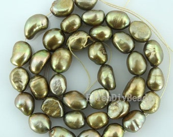 8-9MM Baroque Pearl Beads,Pure Freshwater Natural Pearl Beads, army green Pearl Beads,One Full Strand,Pearl Beads-36 Pieces-14 inches-BP016