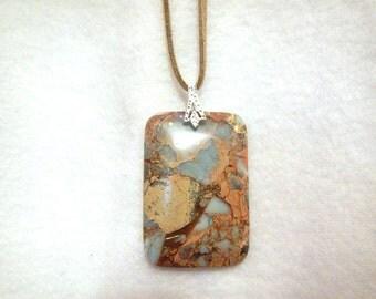 Rectangular Blue Snake Skin Jasper pendant necklace (JO57)