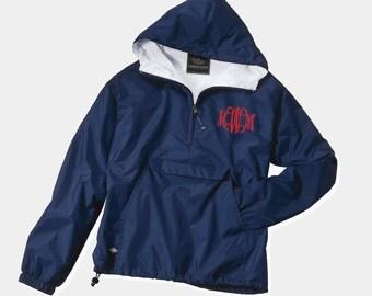 Monogrammed personalized pullover Jacket Rain jacket Sorority
