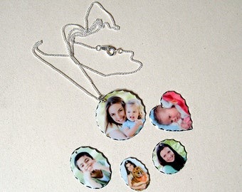 Personalised Silver Plated Photo Printed Jewellery - Custom Made