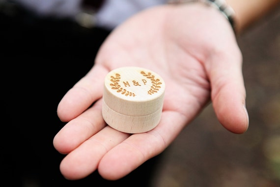 engraved wooden wedding ring