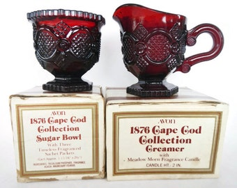 Vintage Set of Avon Creamer and Sugar Bowl Set, 1876 Cape Cod Collection - ruby red glass, Meadow Morn Fragrance Candle, 1970s-cottage,decor