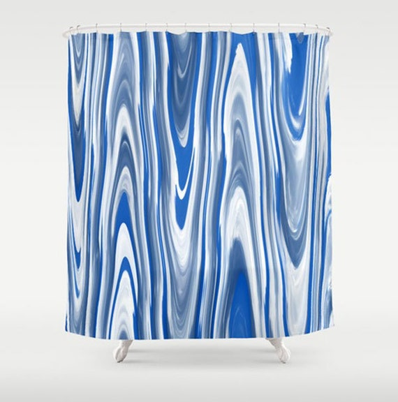 items similar to blue white shower curtain modern