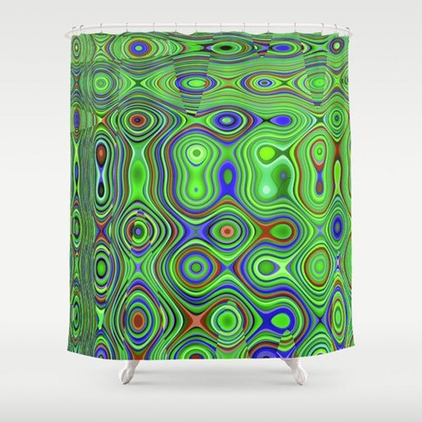 Bold Green Funky Fabric Shower Curtain By Naturallightstudio