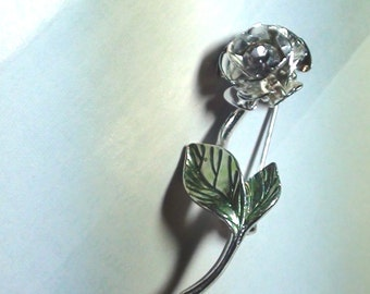 AVON Vintage Flower  crystal accent brooch collectible Bridal Brides Maids Pin rhodium  On SaLe Now