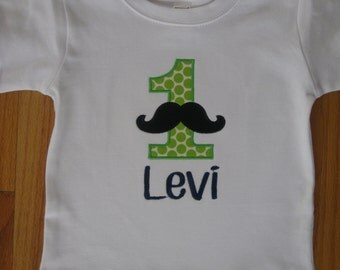 Personalized Little Man/Mustache Birthday T-shirt