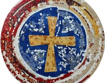 Maronite Cross Marble Mosaic