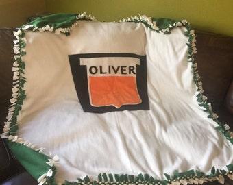 Oliver Tractor Fleece Tie Blanket