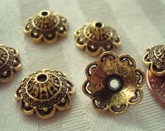 26 BEST Antq Golden Fine Ornate Vintage Style Fancy Bali Cone Caps. 14x5mm 2mm Hole. Gorgeous! ~Ships From Oregon