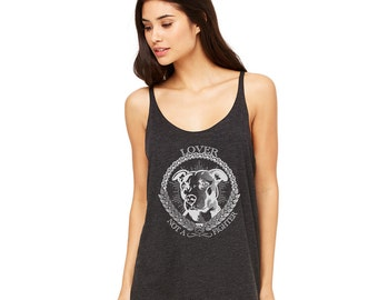 Pit Bull  Lover Not A Fighter Slouchy Tank - Charcoal Black