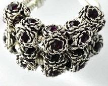 Purple Amethyst CZ February Birthstone Flower Charm + Pandora Polishing Cloth | 9k White Gold Filled Bead | Silver Toned Cubic Zirconia