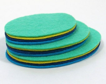 Felt Ovals, 12 pieces - Felt Die Cuts - Wool Blend Felt - You Pick Colors - DIY Crafts