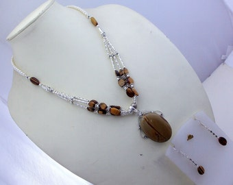 free shipping US-1  stunning huge imperial jasper - tiger's eye - pearl  .925  silver beaded   jewelry  necklace