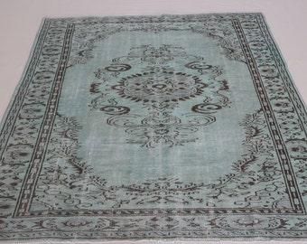 FREE SHİPPİNG 6,3x9,2 ft-190x280 cm Overdyed Vintage Turkish Rug Handmade Carpet
