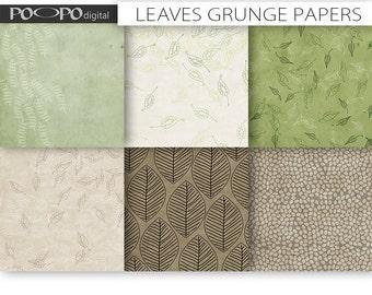 Leaves digital paper grunge texture craft fall autumn leaf distressed organic textured background scrapbooking kraft grunge grungy nature