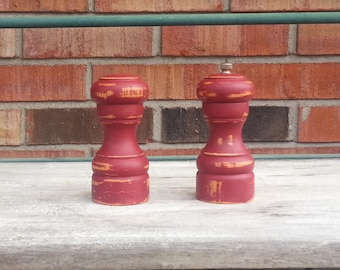 Burgundy Painted Wood Salt Shaker And Pepper Mill