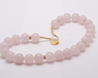 Pink Quartz 14 mm bead Necklace 16 inch long New