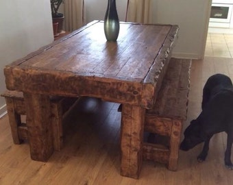 Rustic handmade oak dining table & 2 benches made from old reclaimed hardwood