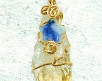 Beautiful Citrine Quartz Pendant with Sodalite