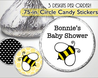 Bumble Bee Kiss Sticker, Baby Shower Kiss Labels, Candy Buffet, First Birthday Candy Stickers, Bee 1st, Bumblebee Party, Honeycomb, Yellow