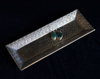 Ornate small brass rectangular dresser jewellery tray